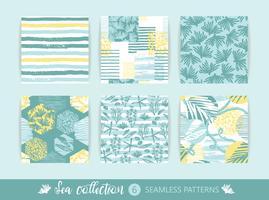 Set Trendy zee naadloze patronen met hand textuur en geometrische elementen vector
