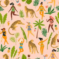 Vector naadloos patroon met dansende ladyes in zwempakken en luipaarden.