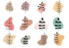 boho plantenkunst en abstracte vorm vector