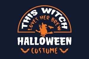 deze heks houdt van haar brouwen halloween kostuum cadeau t-shirt vector