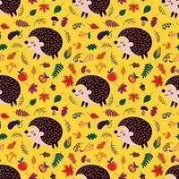 naadloze patroon met cartoon egels. vector illustratie