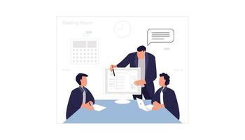 illustratie van werknemers die discussiëren in de vergaderruimte vector