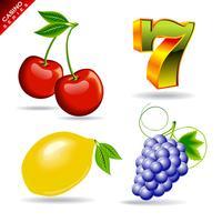 casinoreeks met kers, zeven symbool, citroen en druif.