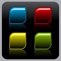 Glanzende kleurenknoop die op zwarte achtergrond wordt geplaatst. vector
