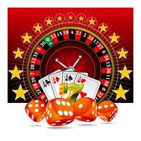 Dobbelstenen, speelkaarten en roulettewiel.