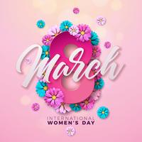 8 maart. Happy Womens Day Floral Greeting-kaart vector