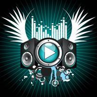 muzikaal thema met luidsprekers en vleugel vector