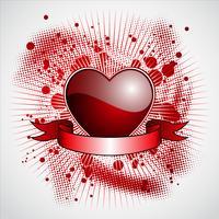 De dagillustratie van de valentijnskaart met glanzend rood hart en lint