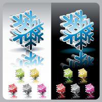 Glanzende 3d sneeuwvlok knop set. vector