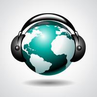 muzikale wereld met spreker op donkere achtergrond