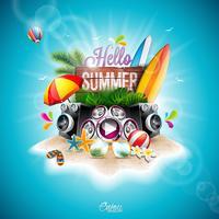 Vector zomertijd vakantie typografische illustratie met surfplank