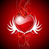 De dagillustratie van de valentijnskaart met glanzende rode harten en vleugels.