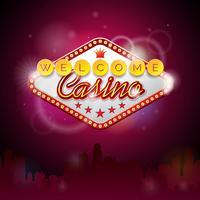 Vectorillustratie op een casinothema met verlichtingsvertoning