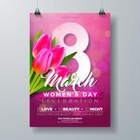 Vrouwendag partij flyer illustratie