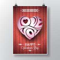 Valentijnsdag thema met 3d hou van je typografisch hart ontwerp