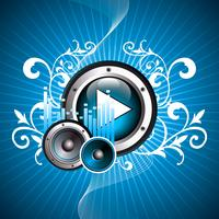 vectorillustratie voor muzikale thema met play-knop en luidsprekers vector