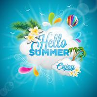 Vector Hallo zomervakantie typografische illustratie met tropische planten