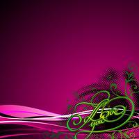 Grunge I Love You-titels met bloemenmotief op golfachtergrond