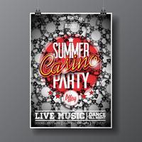 Summer Party Flyer-ontwerp op een casinothema met fiches vector