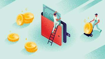 Lawaaierige isometrische portefeuille met geld en munten vector
