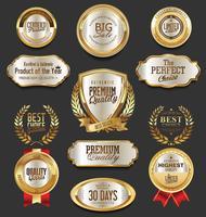 Luxe premium gouden insignes en labels vector