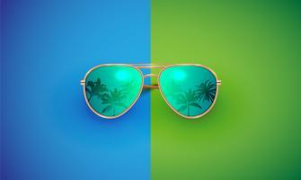 Realistische vectorzonnebril op een kleurrijke achtergrond, vectorillustratie vector