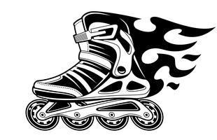 Burning Roller Skate in beweging vector