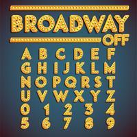 'Broadway' fontset met lampen, vectorillustratie