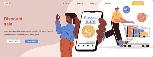 kortingsverkoop webbanner voor promotiemateriaal voor sociale media vector