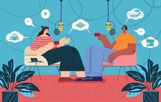 man en vrouw met podcastgesprek vector