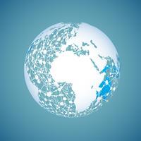 Wereldbol op een blauwe achtergrond, vectorillustratie