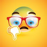 Emoticon met duimen naar beneden, vectorillustratie