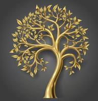 gouden decoratieve sprookjesboom met bladgoud vector