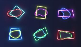 Hoog-gedetailleerd neonsjabloon, vectorillustratie