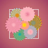 Kleurrijke bloemen met witte grens en bladeren, vectorillustratie vector