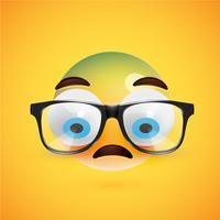 3D gele emoticon met brillen, vectorillustratie vector