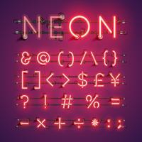 Geel realistisch neonkarakter dat met draden en console, vectorillustratie wordt geplaatst