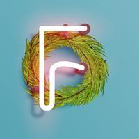 Neondoopvont van een fontset met de pijnboom van de Kerstmisdecoratie, vectorillustratie