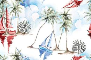 naadloze patroon kokospalm en zeilboot vector