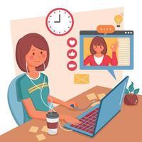 vrouw die thuis werkt via laptop vector