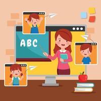 leerlingen thuis lesgeven via internet vector