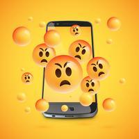 3D emoticons met realistische smartphone, vector illustartion