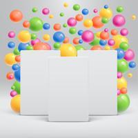 Leeg wit malplaatje met kleurrijke ballen die rond voor reclame, vectorillustratie drijven