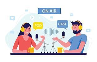 podcast opnamesessie vector