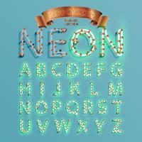 Neonlettertype fontset met de pijnboom van de Kerstmisdecoratie, vectorillustratie