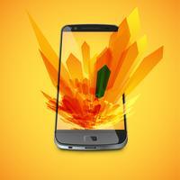 Gele abstracte achtergrond en een realistische smartphone voor zaken, vectorillustratie vector