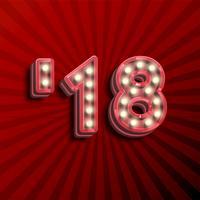 '18 3D tekst voor het nieuwe jaar met gloeiende gloeilampen, vectorillustratie