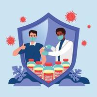 covid-19 vaccinatie beschermt mensen tegen covid-19 virus vector