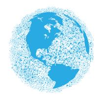 Wereldbol op een witte achtergrond, vectorillustratie