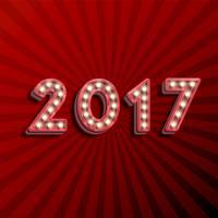 '17 3D tekst voor het nieuwe jaar met gloeiende gloeilampen, vectorillustratie
